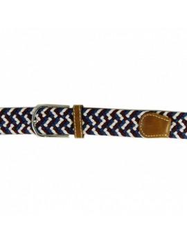 Pasek elastyczny niebieski z beżowym paskiem