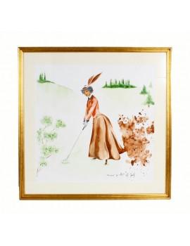 """Obraz Akwarela  """"Golfistka Vintage"""""""