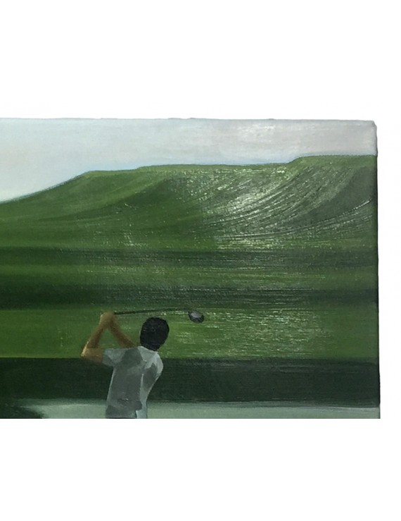 """Obraz Olej """"Golfowy Pejzaż nad wodą"""""""