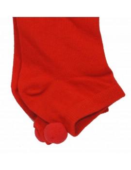 Skarpetki z pomponami Czerwone
