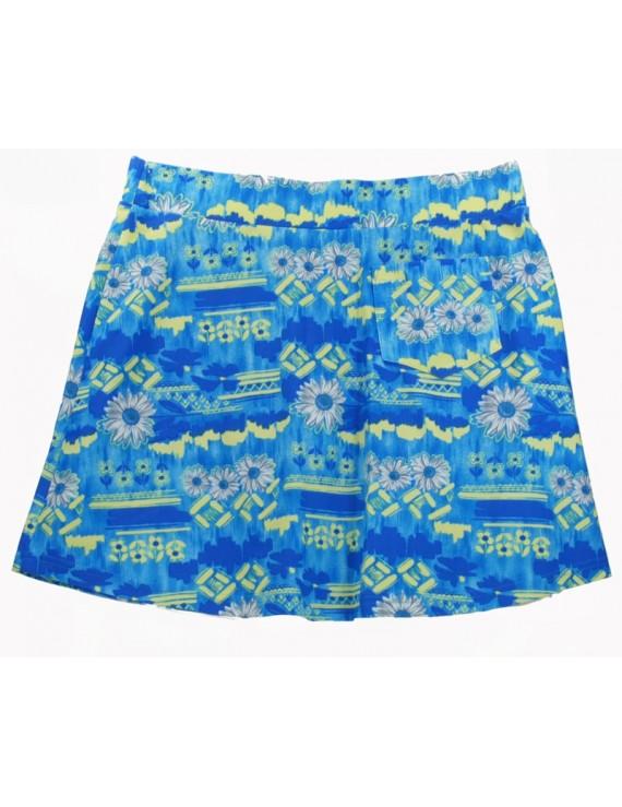 Spódnica niebiesko-żółta wzór - L