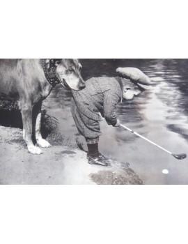 Golf chłopczyk i pes