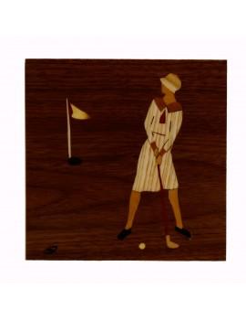 """Intarsja  pudełko """"Golfistka"""""""