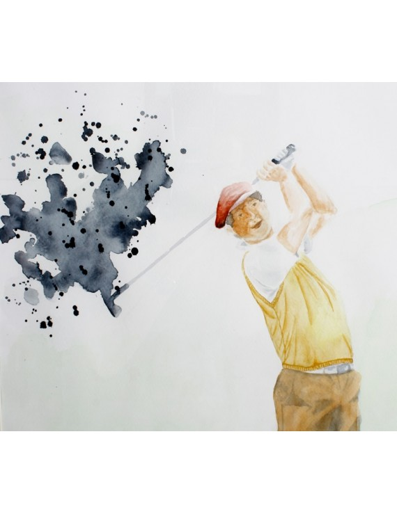 """Obraz  Akwarela """"Golfista Vintage"""""""